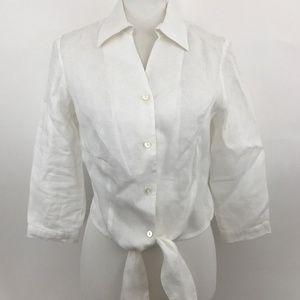 J. McLaughlin Women's White Linen Button Up Blouse